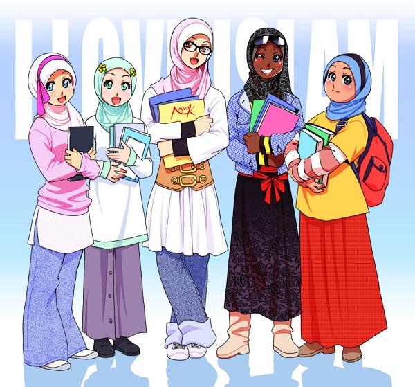 gambar-gambar-kartun-muslim-muslimah-berjilbab